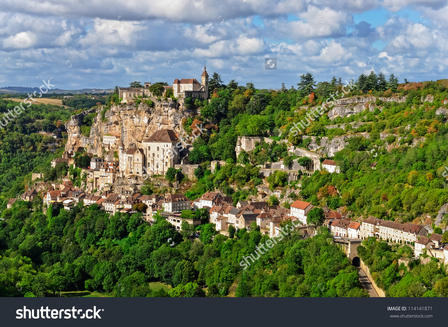 Rocamadour Village Wide View, France Stock Photo 114141871.
