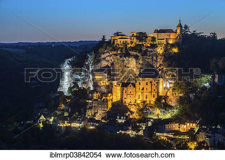 "Stock Photo of ""Dusk, pilgrimage town of Rocamadour, department of."