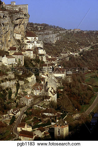 Stock Photo of Rocamadour. Lot. France. In winter. pgb1183.