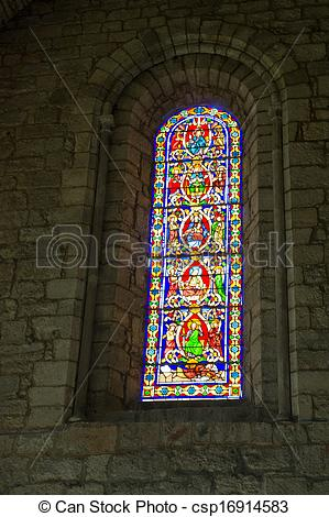 Pictures of Stained glass window in Rocamadour.