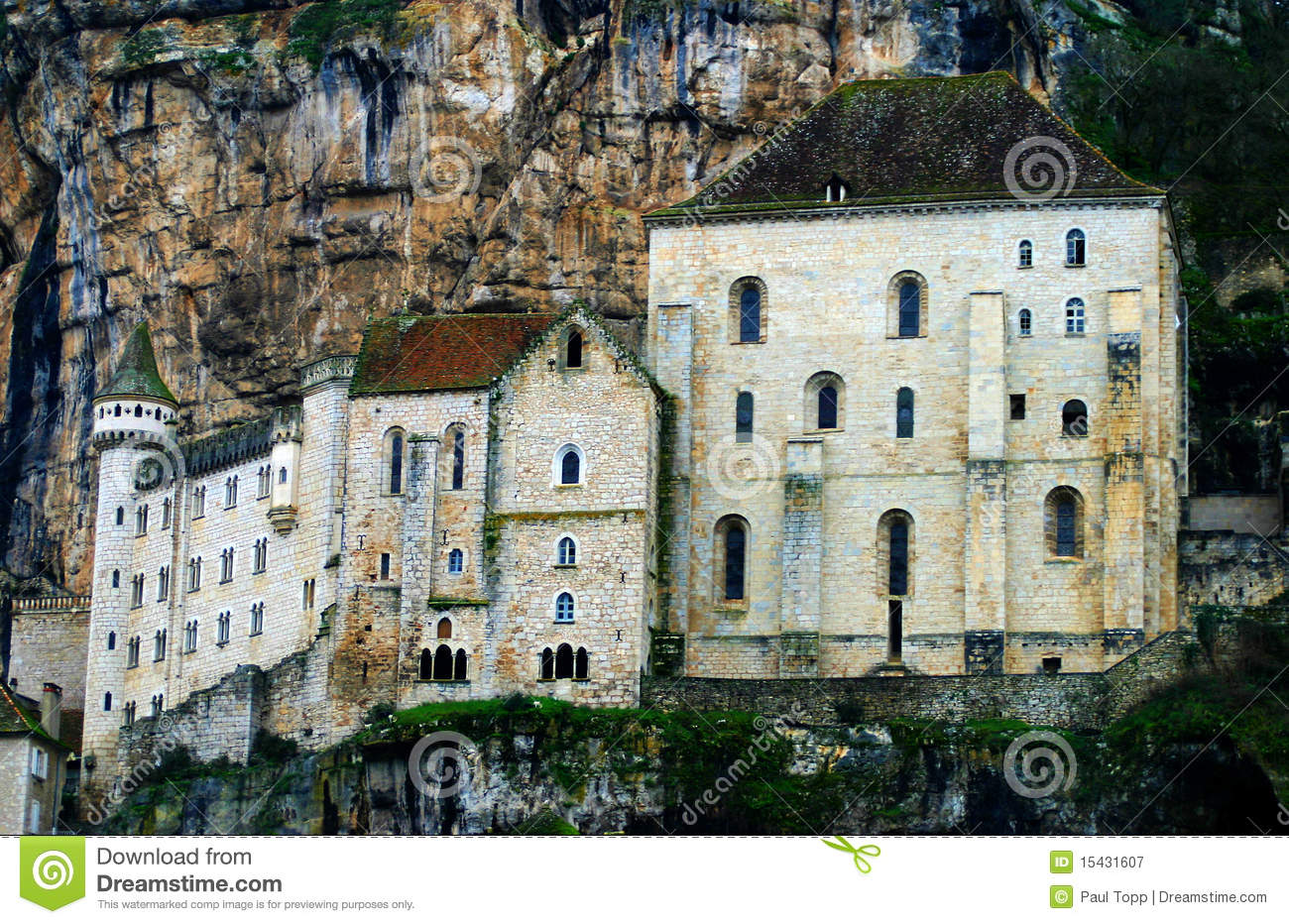 Notre Dame De Rocamadour Monastery In France Royalty Free Stock.