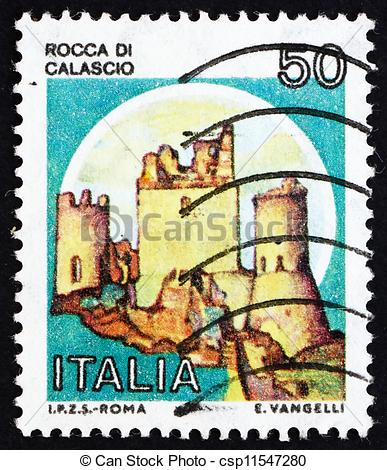 Pictures of Postage stamp Italy 1980 Rocca di Calascio, Castle.