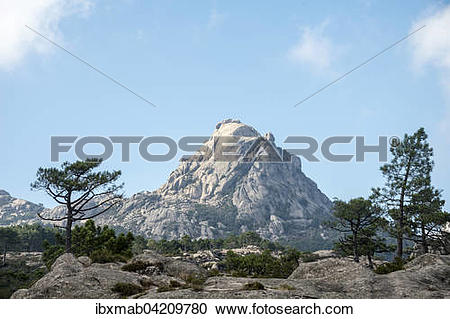 Stock Photography of Mountain landscape with Punta di u Diamante.