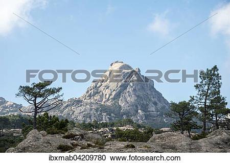 Stock Photography of Mountain landscape with Punta di u Diamante.