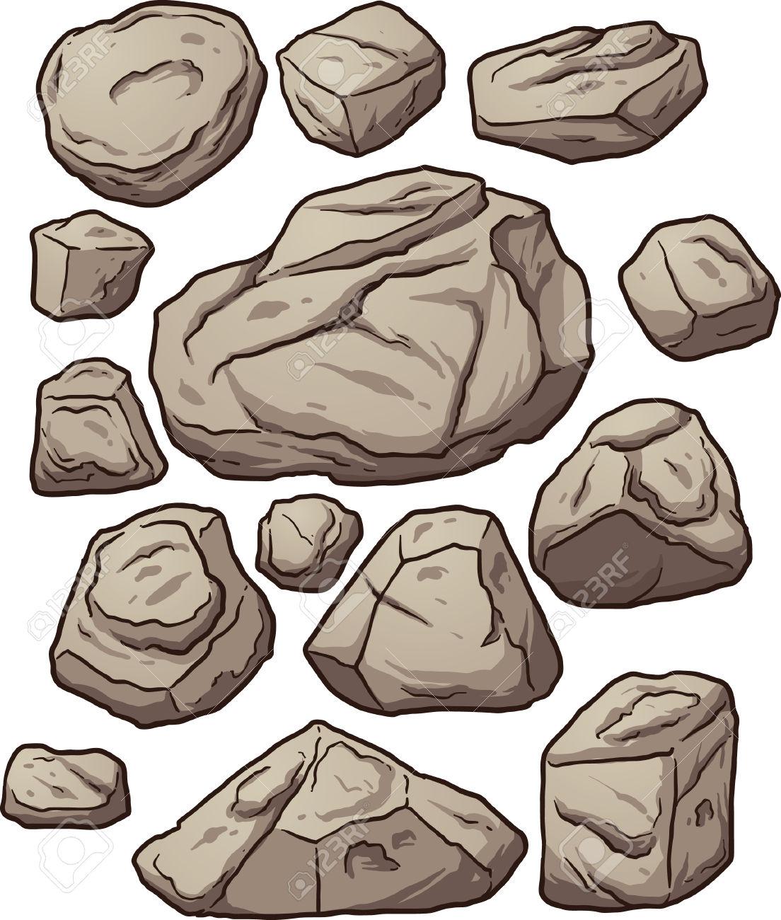 Massi Cartoon. Cartoon Massi Rocce E Sassi. Illustrazione Di Clip.