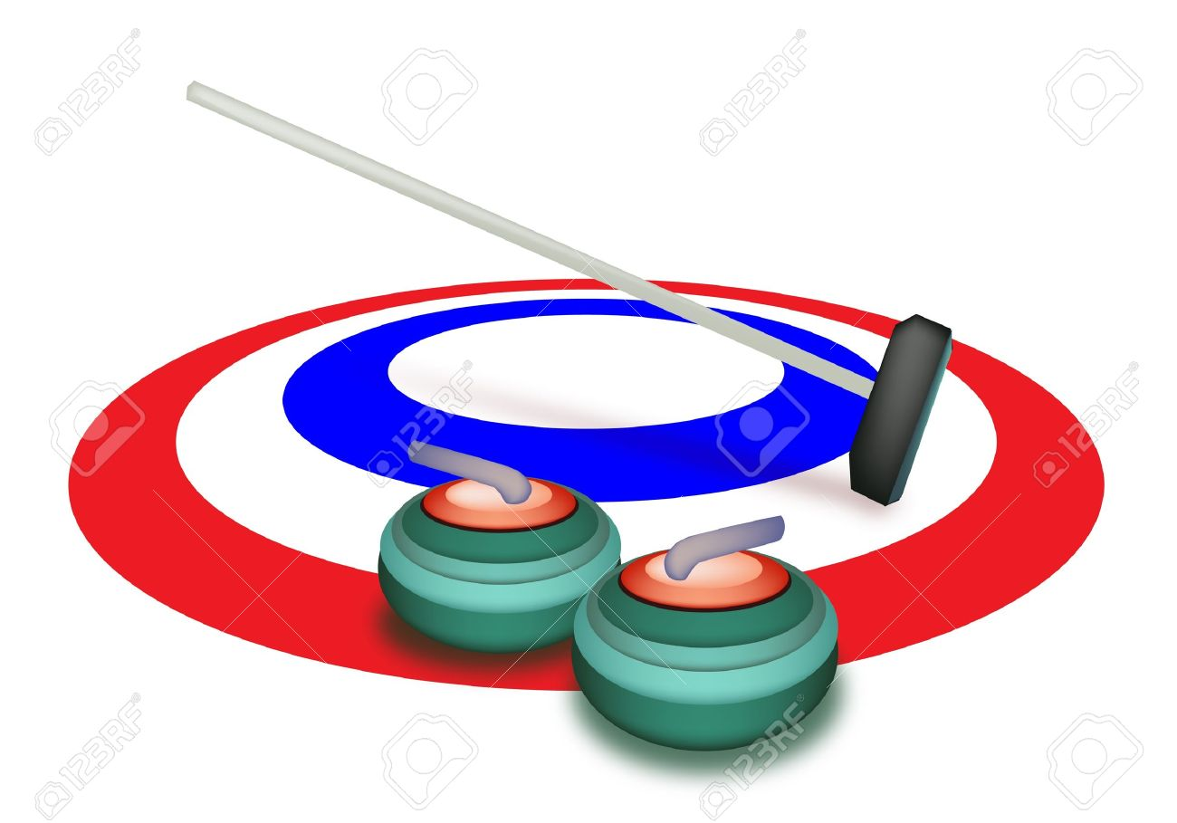 Sport Invernale A Mano Disegno Di Curling Rocce E Scopa Negli.