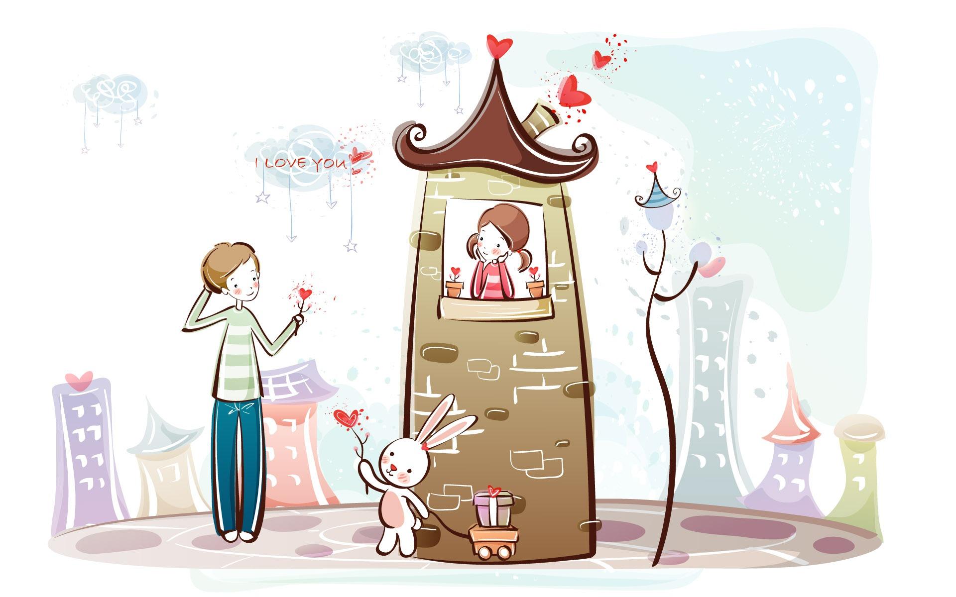 Fondos de pantalla de dibujos animados de San Valentín (1) # 8.