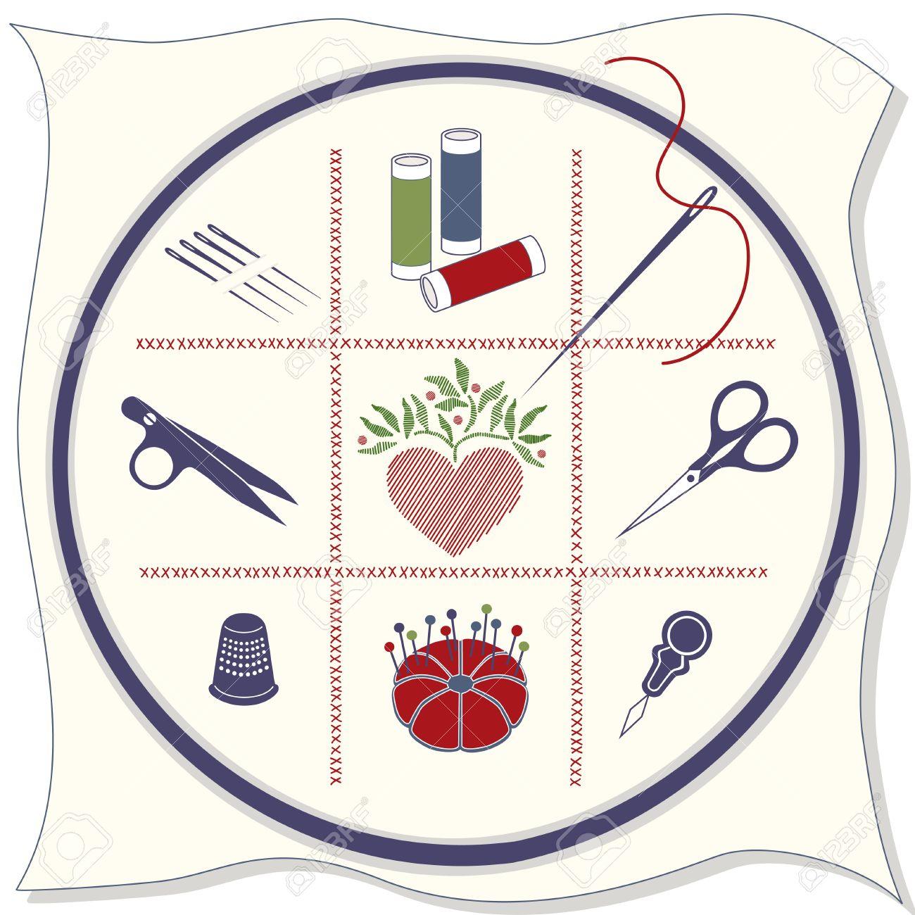 Icone Ricamo: Cerchio, Tessuto, Punto Croce, Aghi Da Cucire.
