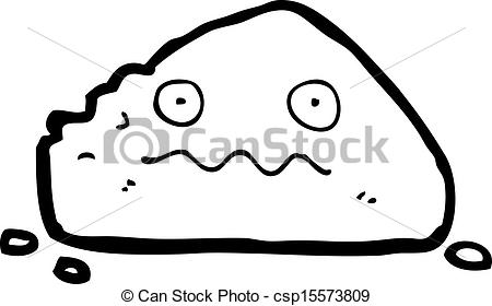 Vector Clipart of cartoon rock with face csp15573809.