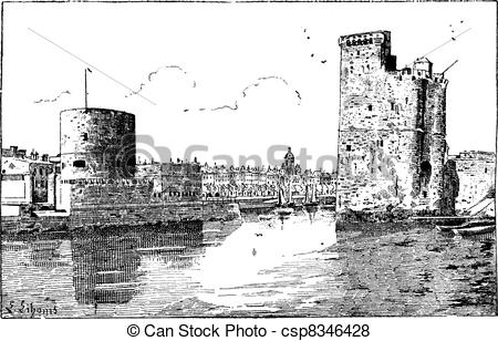 Vector of Port of La Rochelle, France, vintage engraving..