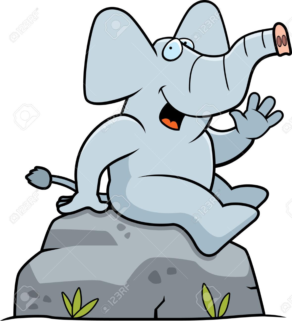 Un éléphant De Bande Dessinée Assis Sur Un Rocher. Clip Art Libres.