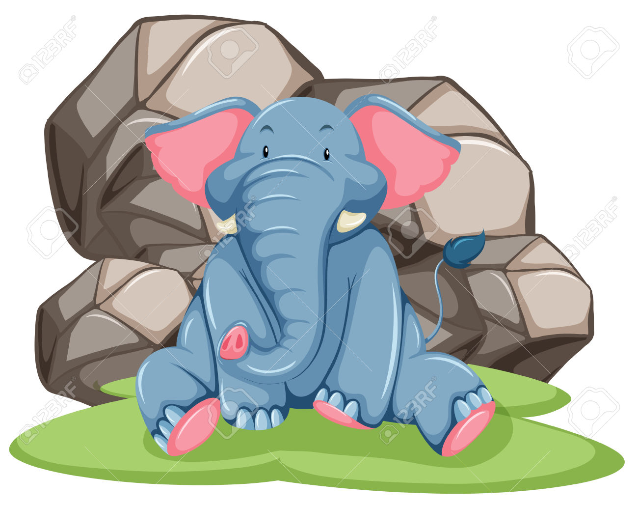 Blue Elephant Assis En Face De Gros Rocher Clip Art Libres De.