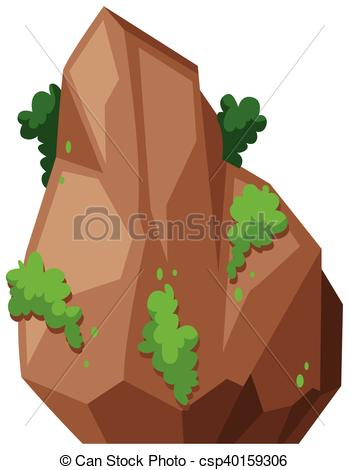 Vector Clipart of buisson, vert, rocher.