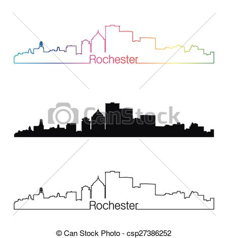 Clipart Vector of Rochester skyline linear style with rainbow in.