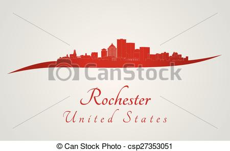 Clipart Vector of Rochester skyline in red and gray background in.
