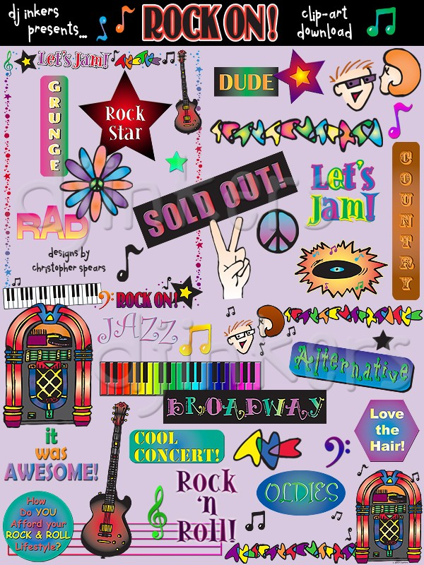 Rockin\' music clip art images created by Christopher Spears.