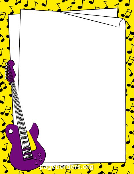 Guitar Border: Clip Art, Page Border, and Vector Graphics.