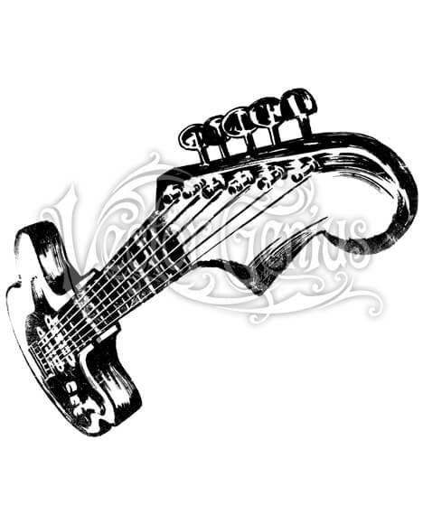 Hand Drawn Foreshortened Guitar ClipArt.