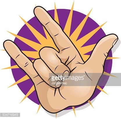 Pop Art Rock and Roll Hand Sign. Clipart Image.