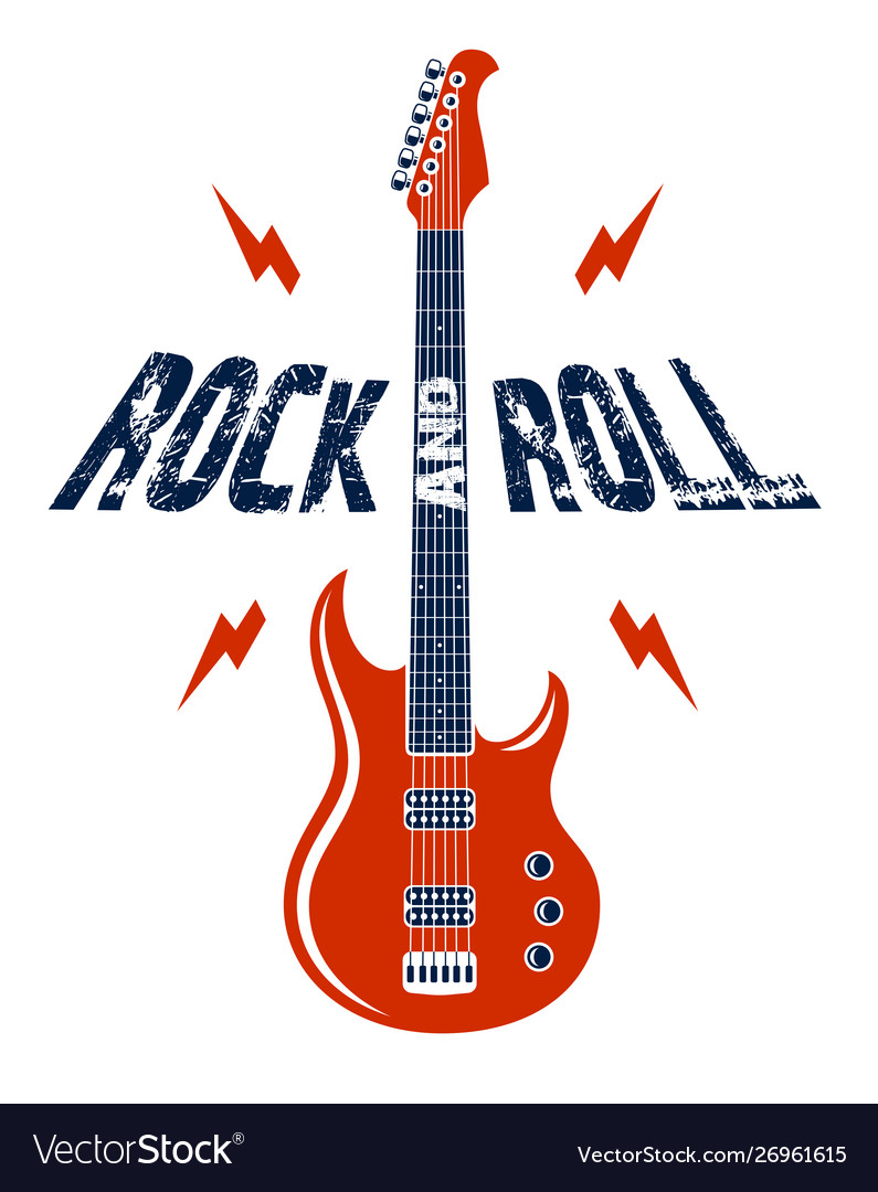 Rock and roll emblem with electric guitar logo.