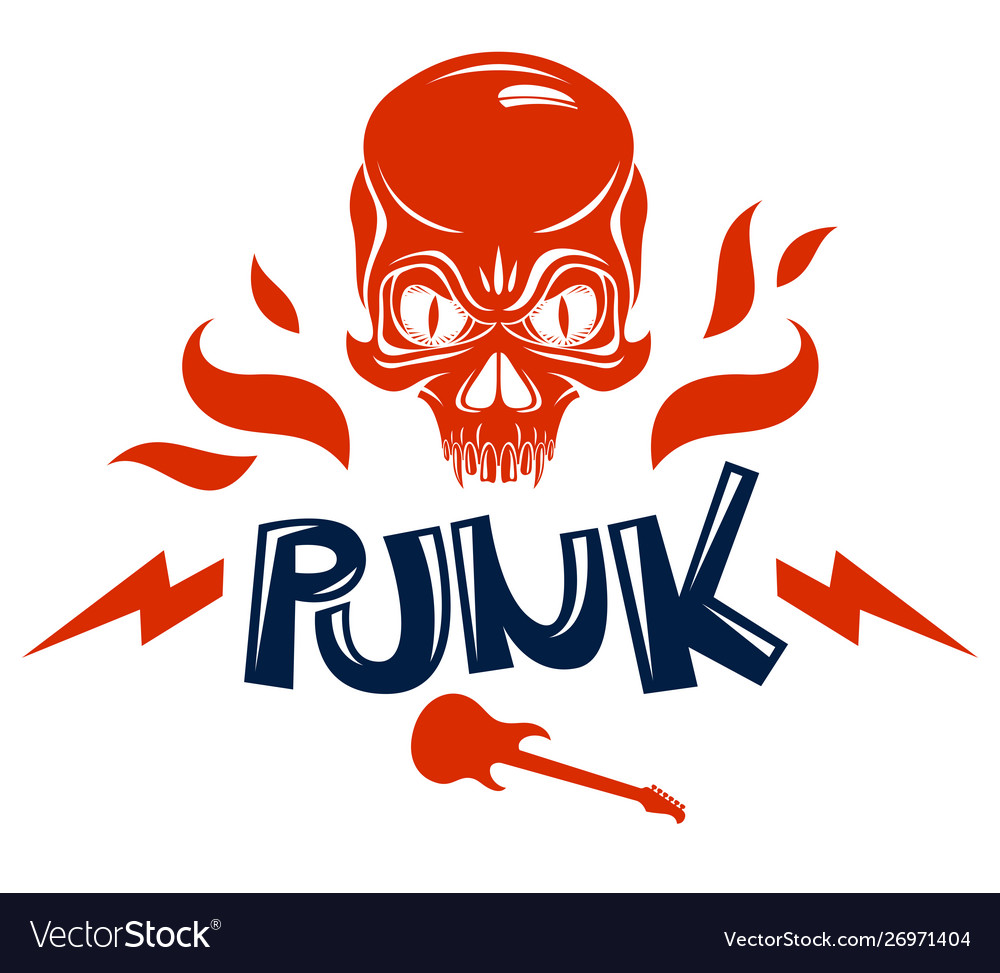 Skull on fire rock and roll logo or emblem.