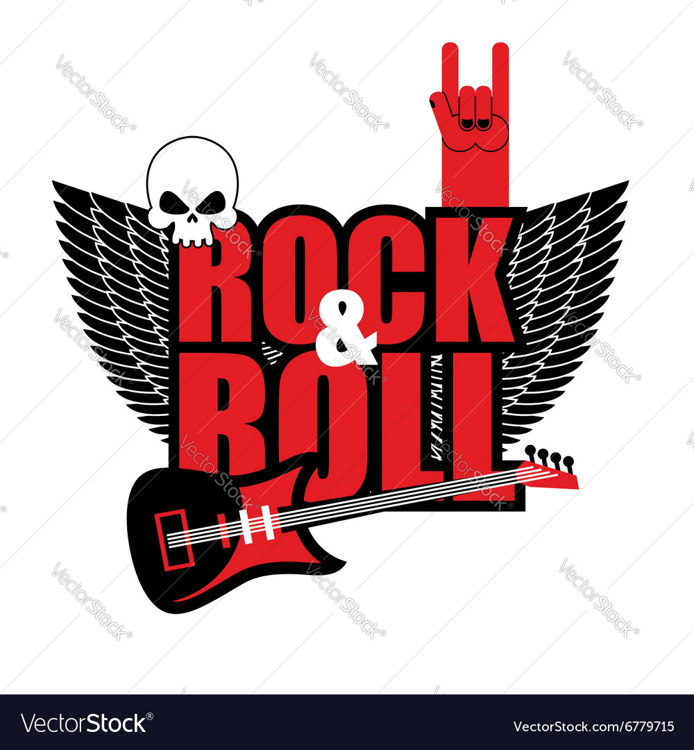 Rock and roll logo Electric guitar and skull Logo.