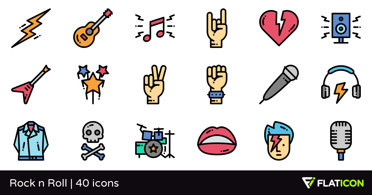 Rock n Roll 40 free icons (SVG, EPS, PSD, PNG files).