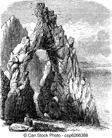 Vector of Capri, Italy, in the Tyrrhenian Sea. Natural rock arch.