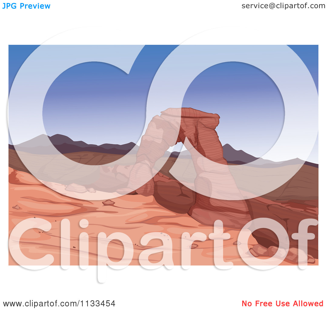 Cartoon Of A Sandstone Desert Arch Rock Formation.