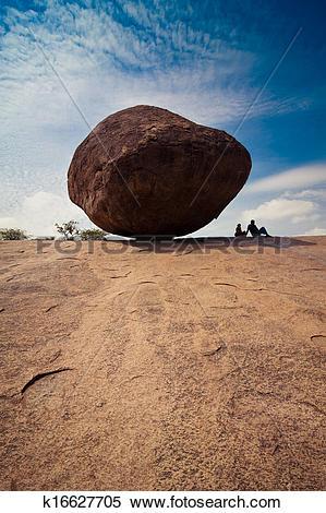 Stock Image of Big balancing rock at Mahabalipuram k16627705.