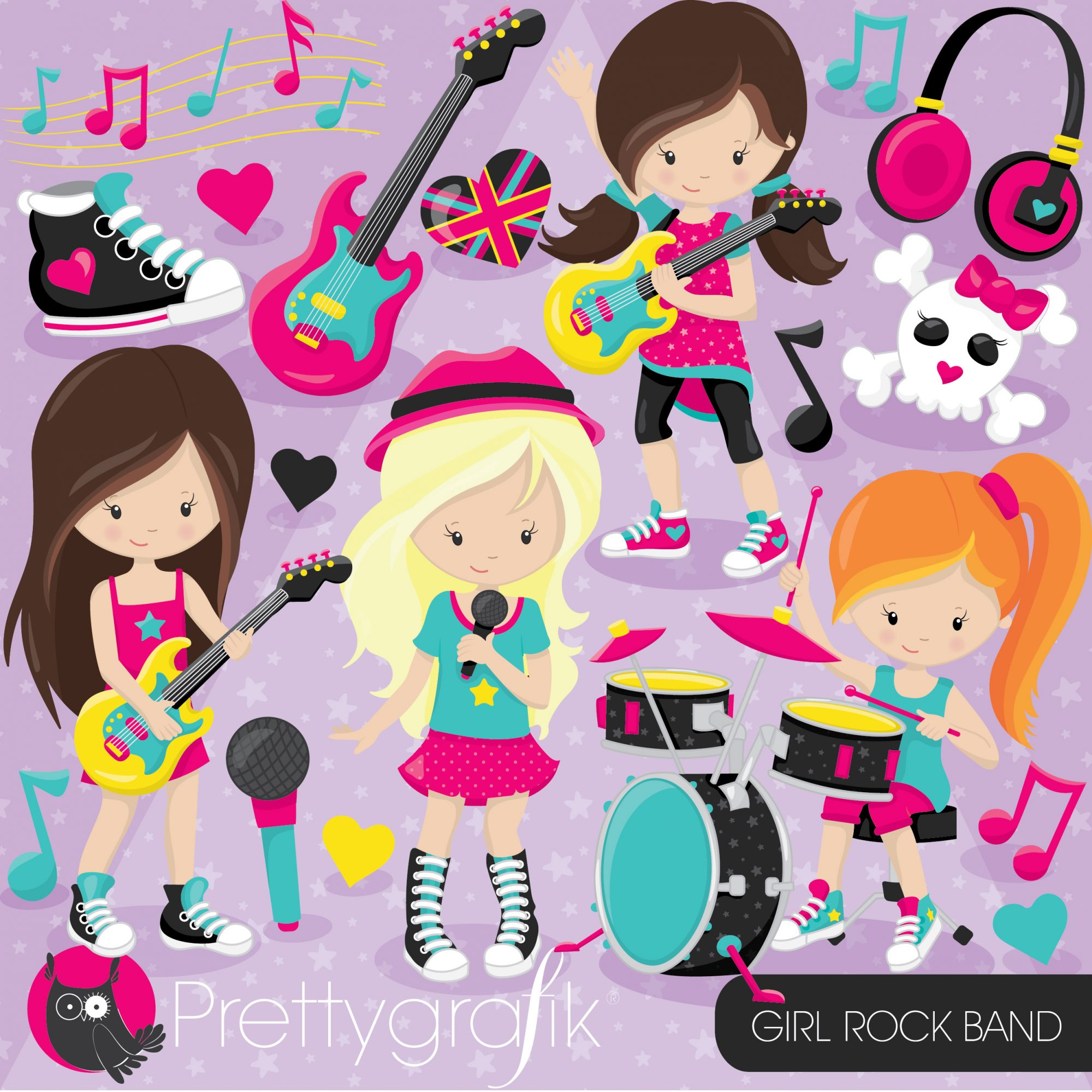 Girl rock band clipart.