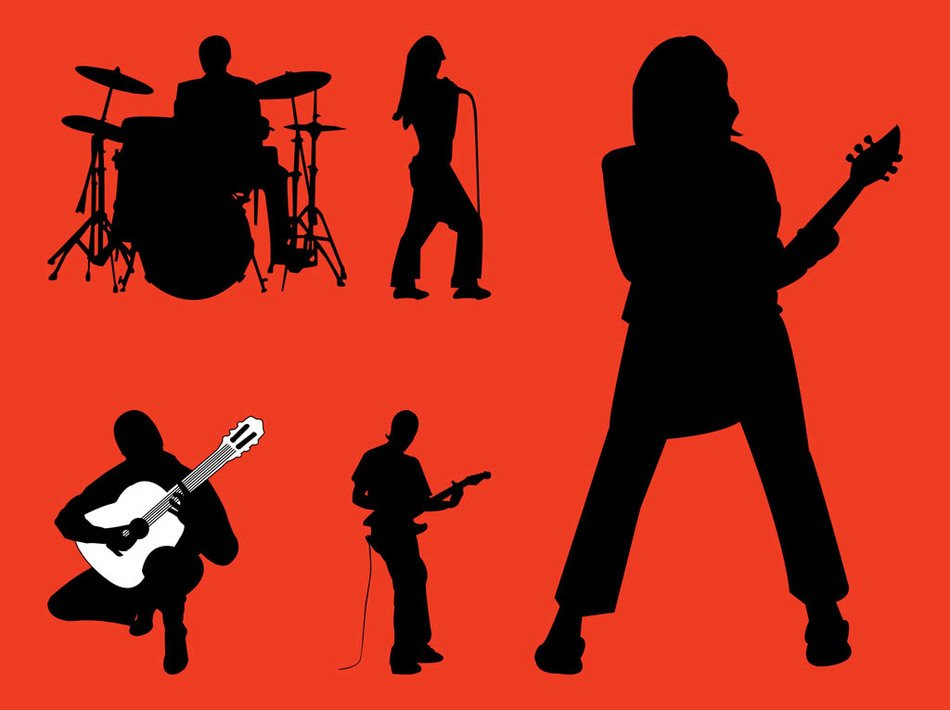 Rock Band Silhouette Clip Art N20 free image.