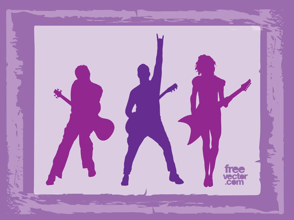 Rock Band Silhouettes Vector Art & Graphics.