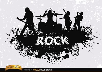 Rock band grunge silhouette Clipart Picture Free Download.