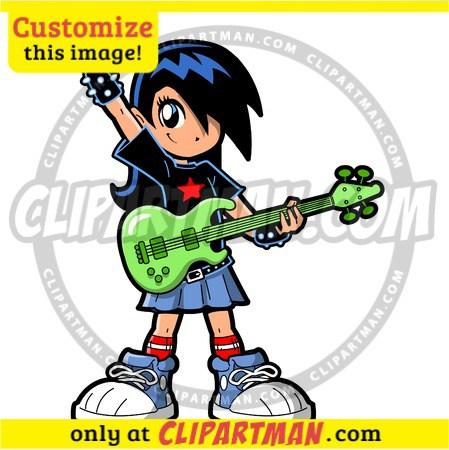 Rock Star Girl cartoon clipart bass guitar player bassist custom.