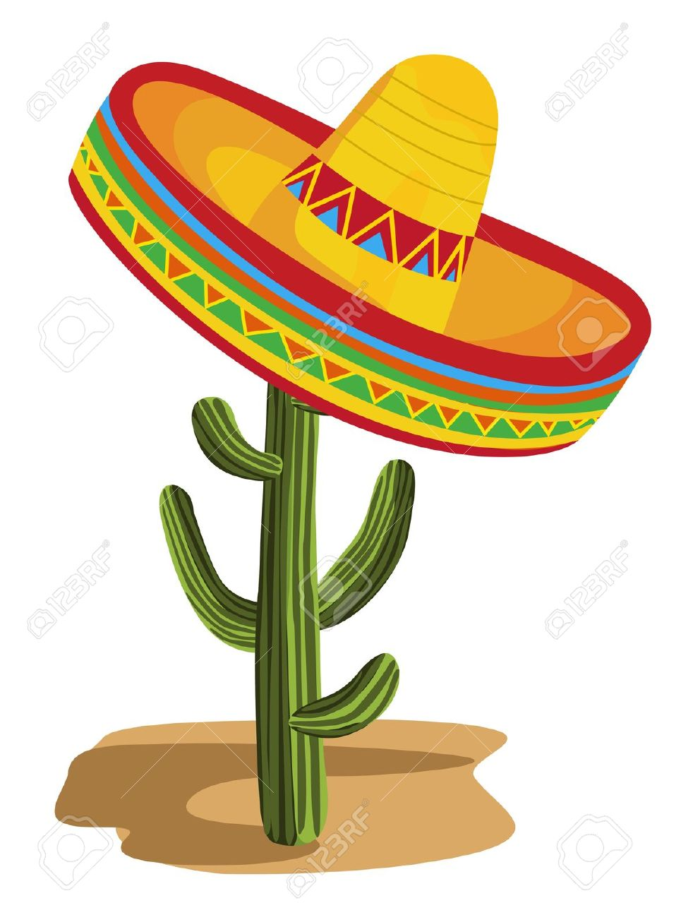 Sombrero On Cactus Royalty Free Cliparts, Vectors, And Stock.