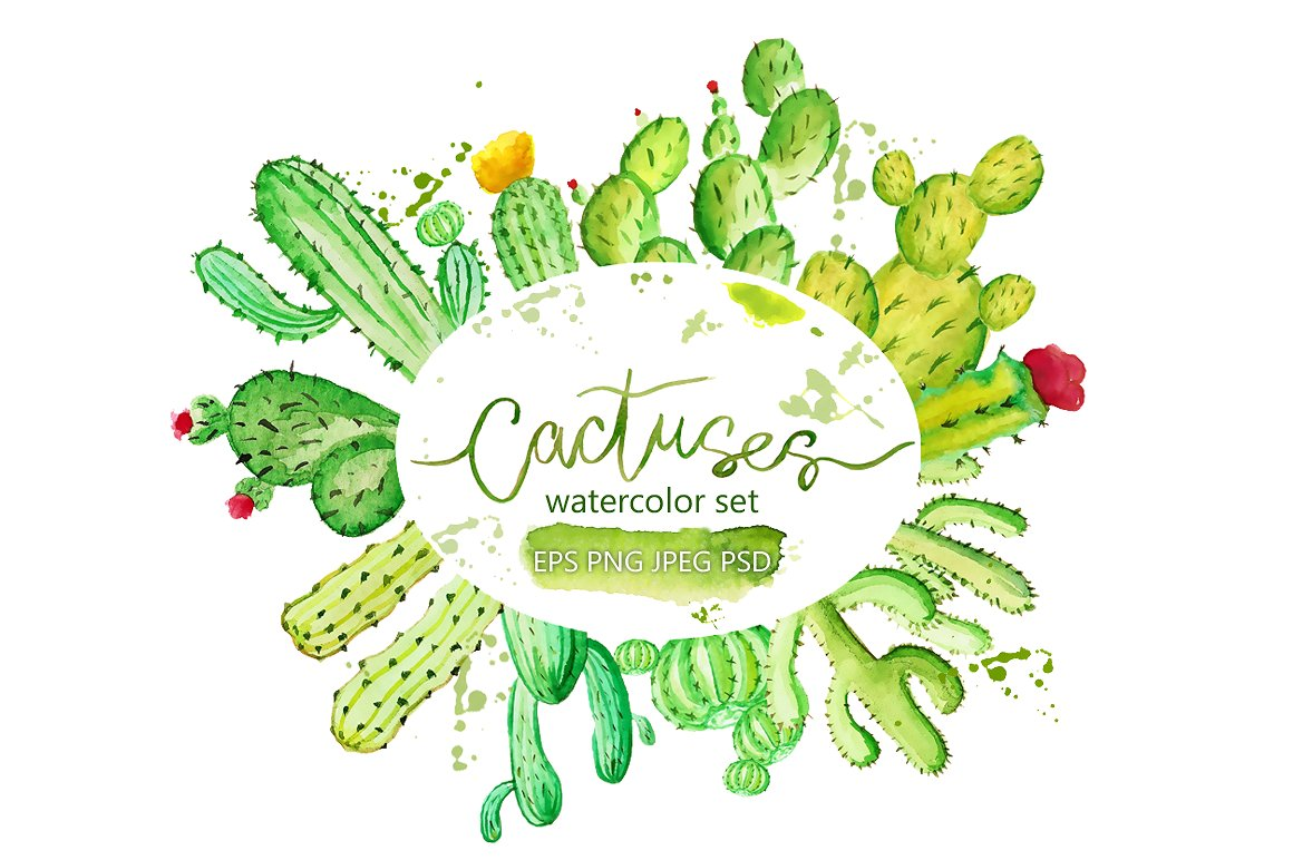 Watercolor cactus Photos, Graphics, Fonts, Themes, Templates.