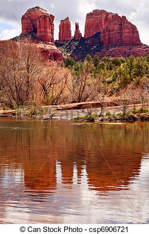 Stock Photography of Cathedral Rock Canyon Oak Creek Reflection.