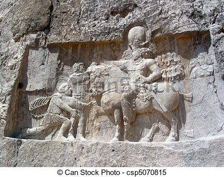 Stock Images of Sasanian rock relief.