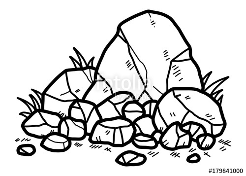rocks / cartoon vector and illustration, black and white.