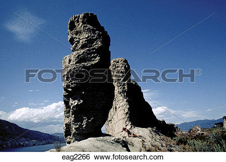 Stock Images of Naturally formed ROCK COLUMN above LAKE PENTICTON.