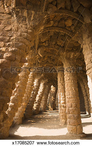 Picture of Spain, Catalonia, Barcelona, Gaudi's rock passages at.
