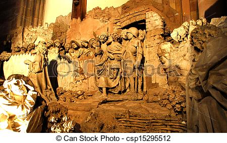 Stock Photography of statues of rock notre dame.