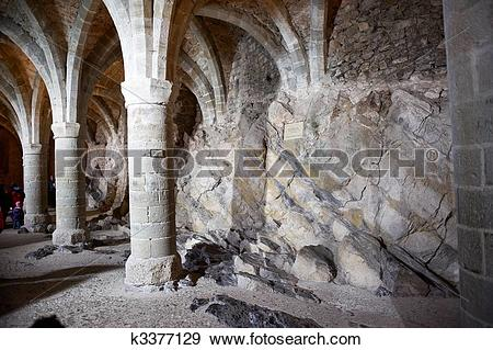 Stock Photograph of Rock Foundation and Columns of a Castle.