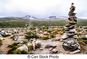 Picture of rock column on the Arctic Circle in norway csp14112676.