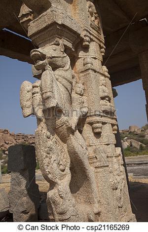 Stock Image of Pillar in Hampi temple.