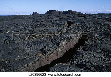 Stock Photo of Crevice in lava field on Santiago Island, Galapagos.