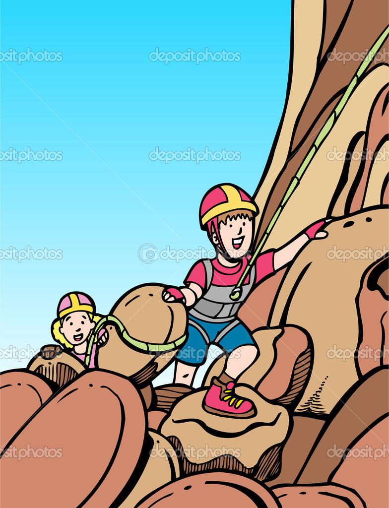 Kids rock climbing — Stock Vector © cteconsulting #3990436.