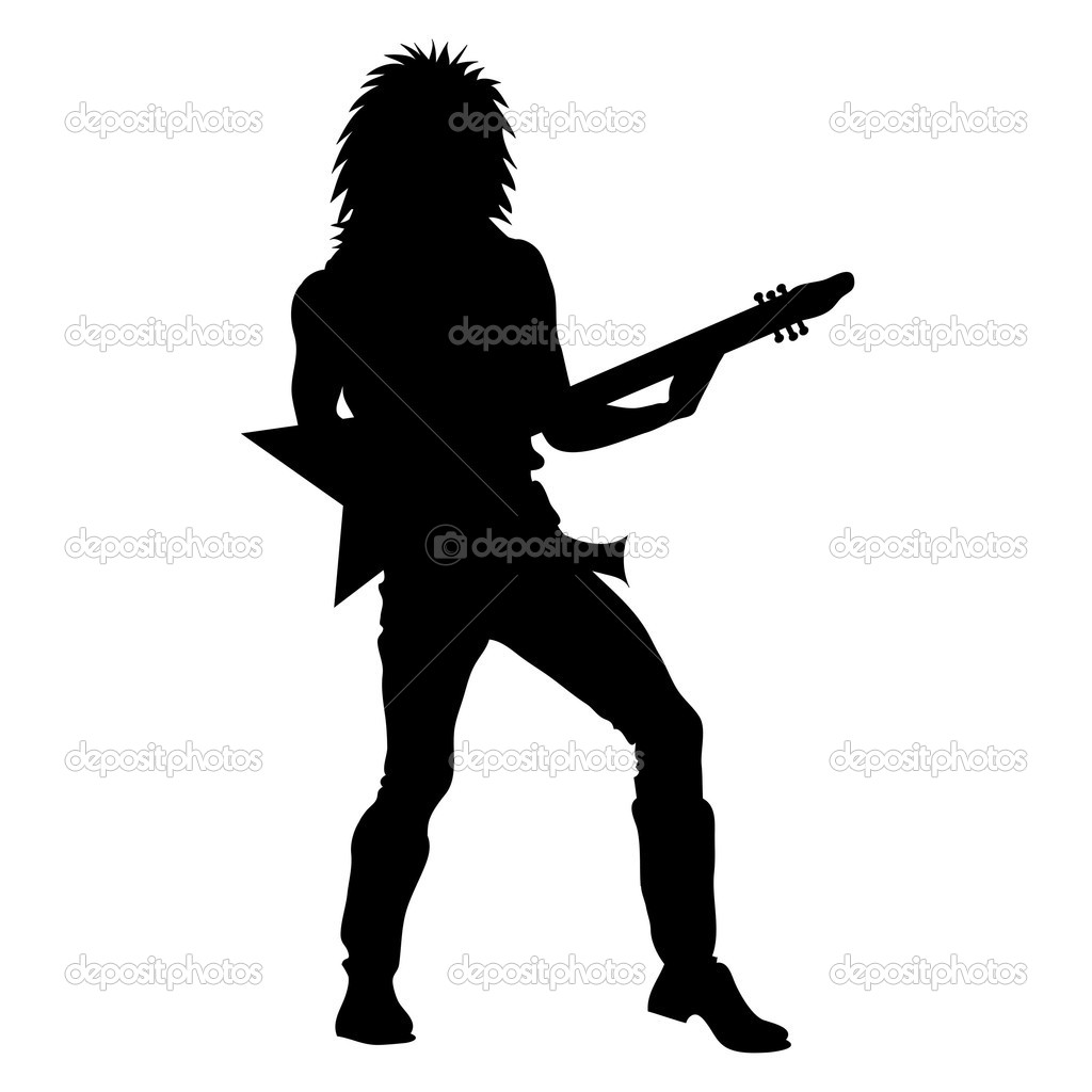 Clip Art Illustration of a Rock Star Playing Guitar Silhouette.