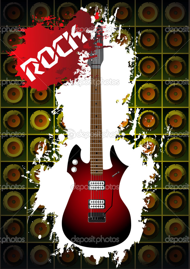 Music background with rock guitar — Stock Vector © UnsCREW #5205161.